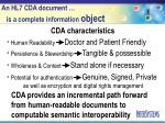 an hl7 cda document is a complete information object