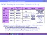 wdht pricing structure and promotion pricing
