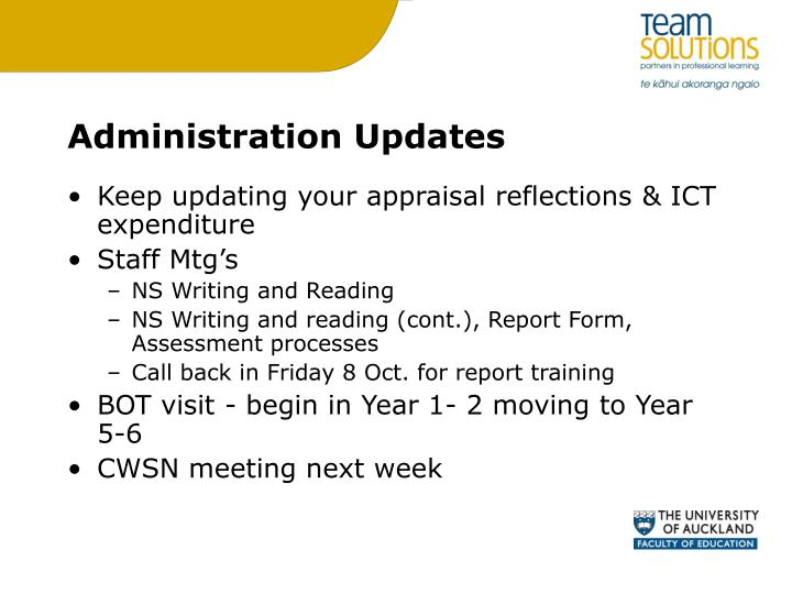 administration updates n.