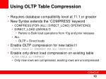 using oltp table compression