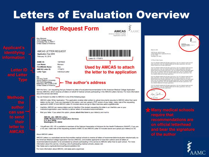 Letters of Evaluation Overview