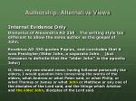 authorship alternative views