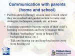 communication with parents home and school