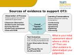 sources of evidence to support otj1
