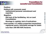 preconditions for succesful land consolidation