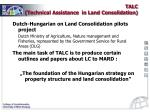 talc technical assistance in land consolidation