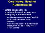 certificates need for authentication