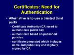 certificates need for authentication1