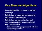 key sizes and algorithms