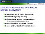 disk mirroring datafiles from host to storage subsystems