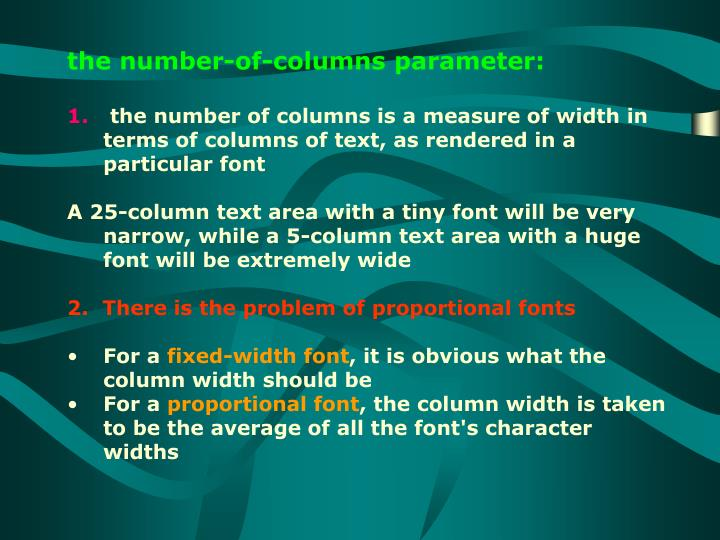 the number-of-columns parameter:
