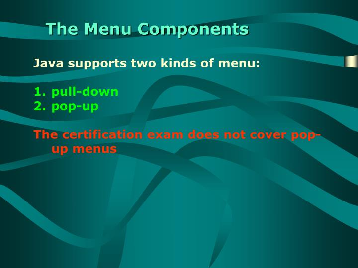 The Menu Components