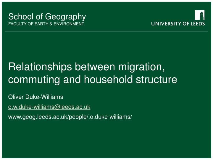 relationships between migration commuting and household structure n.
