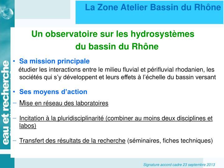 La Zone Atelier Bassin du Rhône