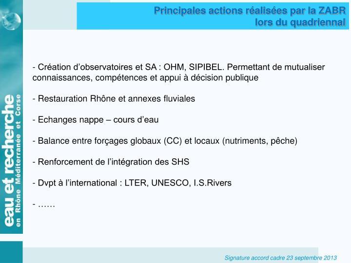 Principales actions réalisées par la ZABR