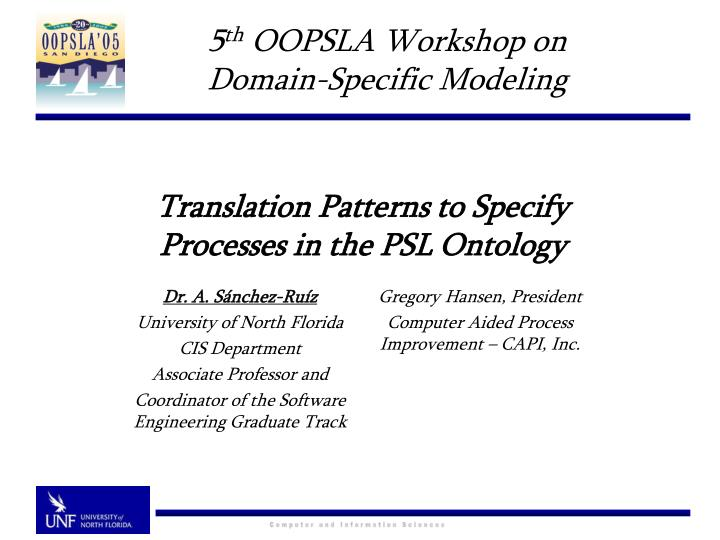 translation patterns to specify processes in the psl ontology n.