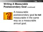 writing a measurable postsecondary goal continued