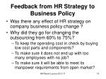feedback from hr strategy to business policy