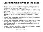 learning objectives of the case