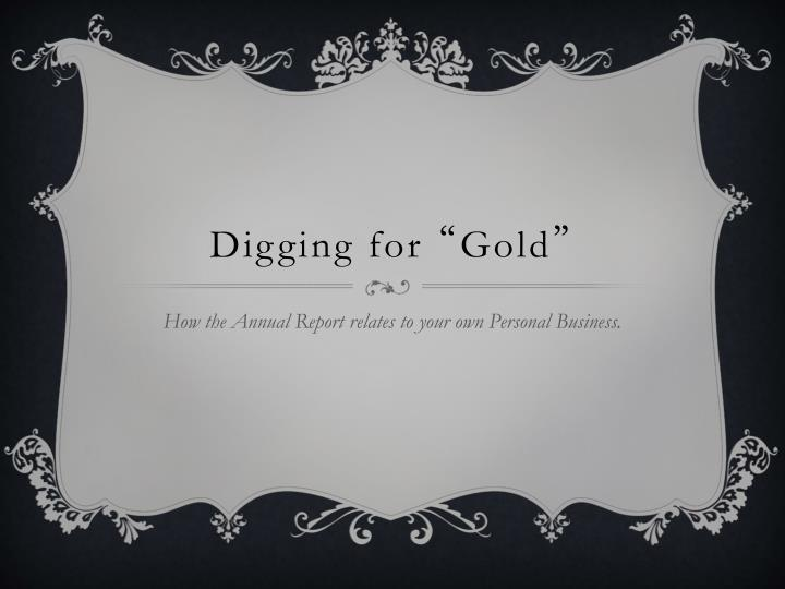 digging for gold n.