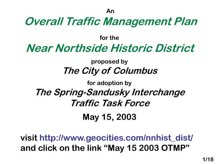 an overall traffic management plan n.