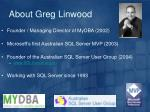 about greg linwood