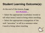 student learning outcome s