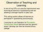 observation of teaching and learning