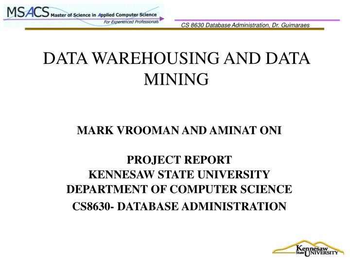 data warehousing and data mining n.