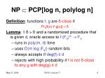 np pcp log n polylog n3