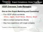 vedp overseas trade managers