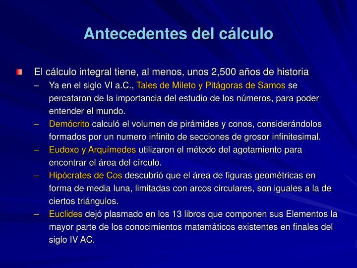 Antecedentes del cálculo