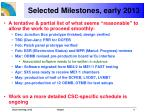 selected milestones early 2013