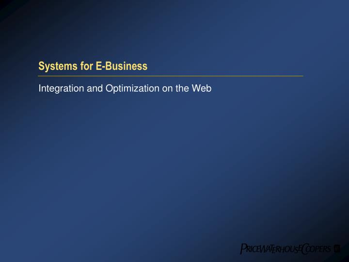 systems for e business n.