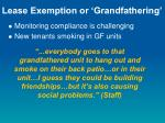 lease exemption or grandfathering