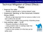 technical mitigation of direct effects radar