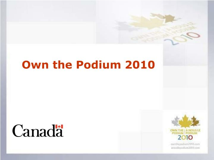 own the podium 2010 n.