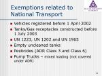 exemptions related to national transport
