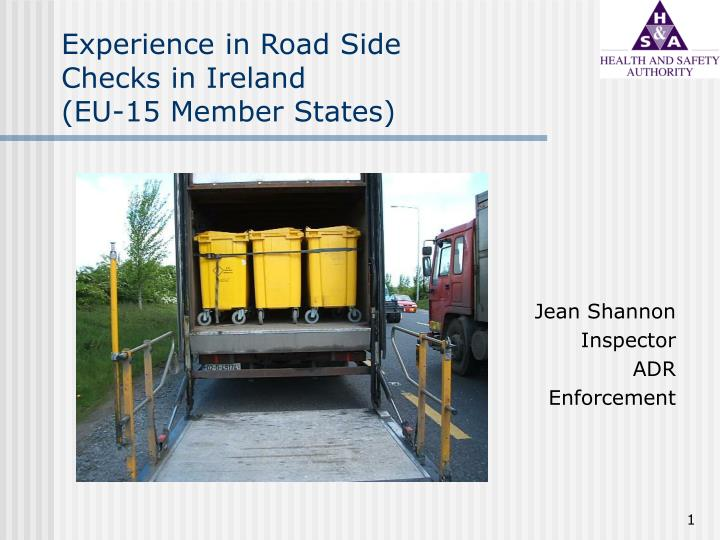 experience in road side checks in ireland eu 15 member states n.