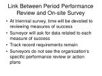 link between period performance review and on site survey