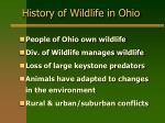 history of wildlife in ohio