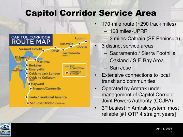 Capitol Corridor Service Area