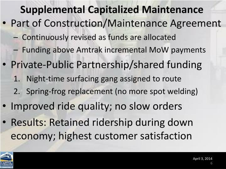 Supplemental Capitalized Maintenance