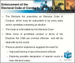 enforcement of the electoral code of conduct