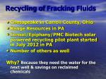 recycling of fracking fluids