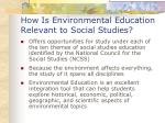 how is environmental education relevant to social studies