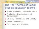 the ten themes of social studies education cont d
