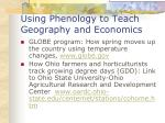 using phenology to teach geography and economics