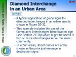 diamond interchange in an urban area