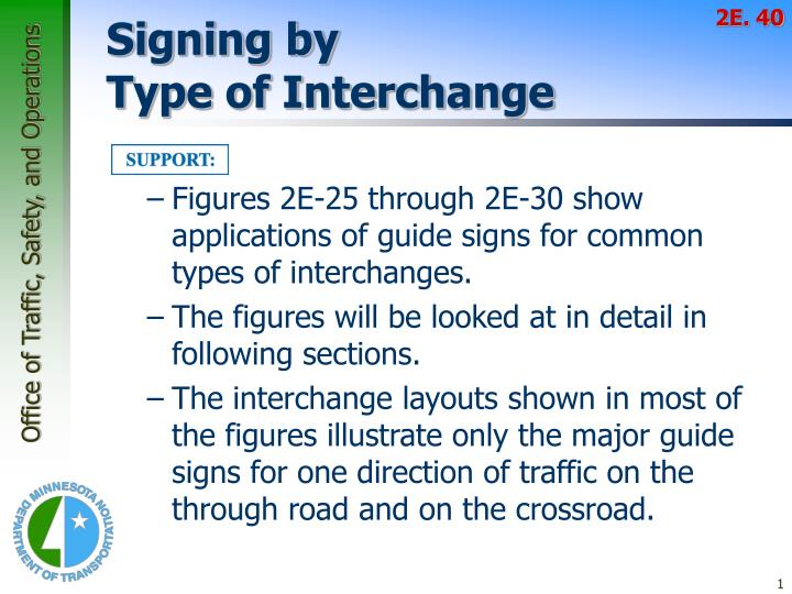 signing by type of interchange n.